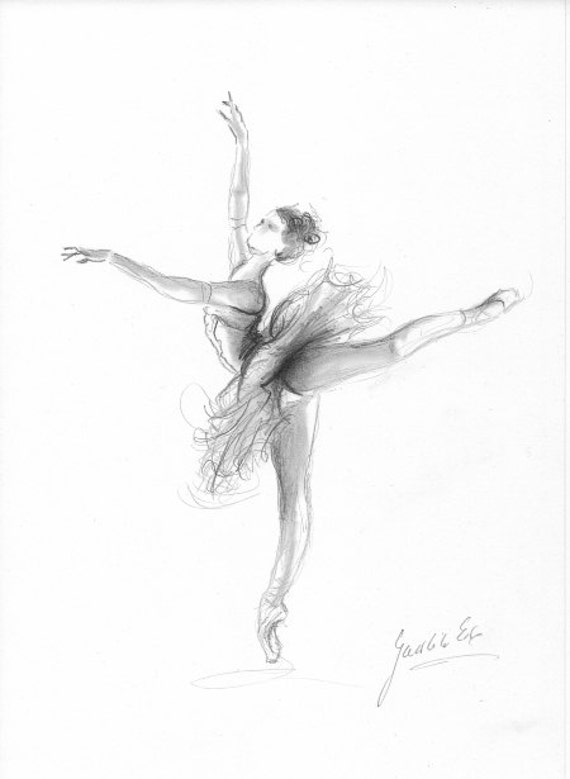 Impression de ballerine ballerine croquis impression du - Dessin d une danseuse ...