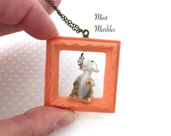 Puppy Dog in a Frame Necklace. Whimsical Jewelry. Dog Lovers. Pet Jewelry. Orange Frame. Miniature Frame. Vintage Style Brass. Under 30.
