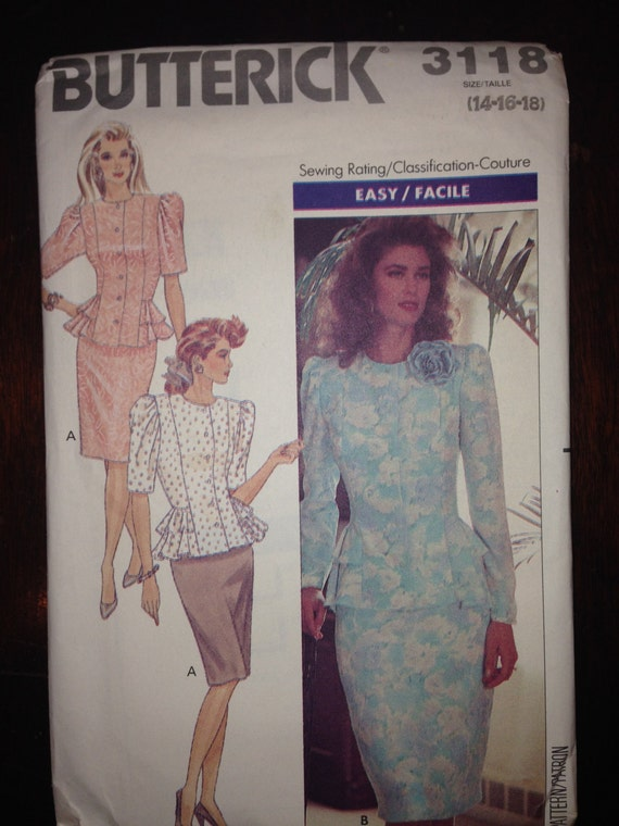 Butterick 3118 Sewing Pattern 80s UNCUT Misses and Misses Petite Top and Skirt Size 14-16-18