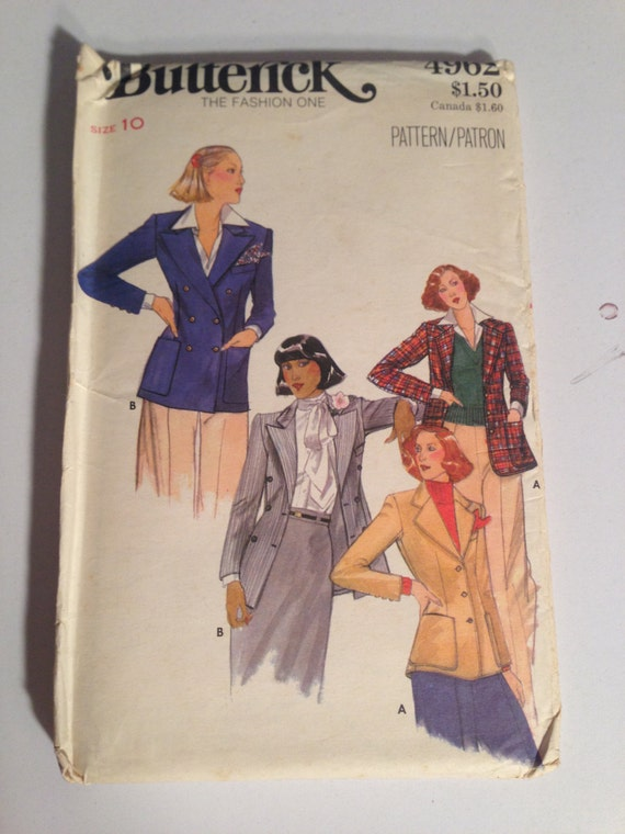 Butterick 4962 Sewing Pattern 70s UNCUT Misses Blazers Size 10