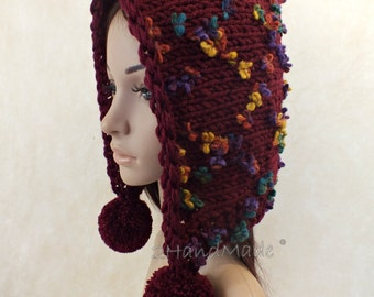 Hand Knit Adult Elf Pixie Hood Hat Super Chunky Pom Poms Burgundy Wine Merino Wool Womens Accessories Colorful Flowers Multicolor Winter