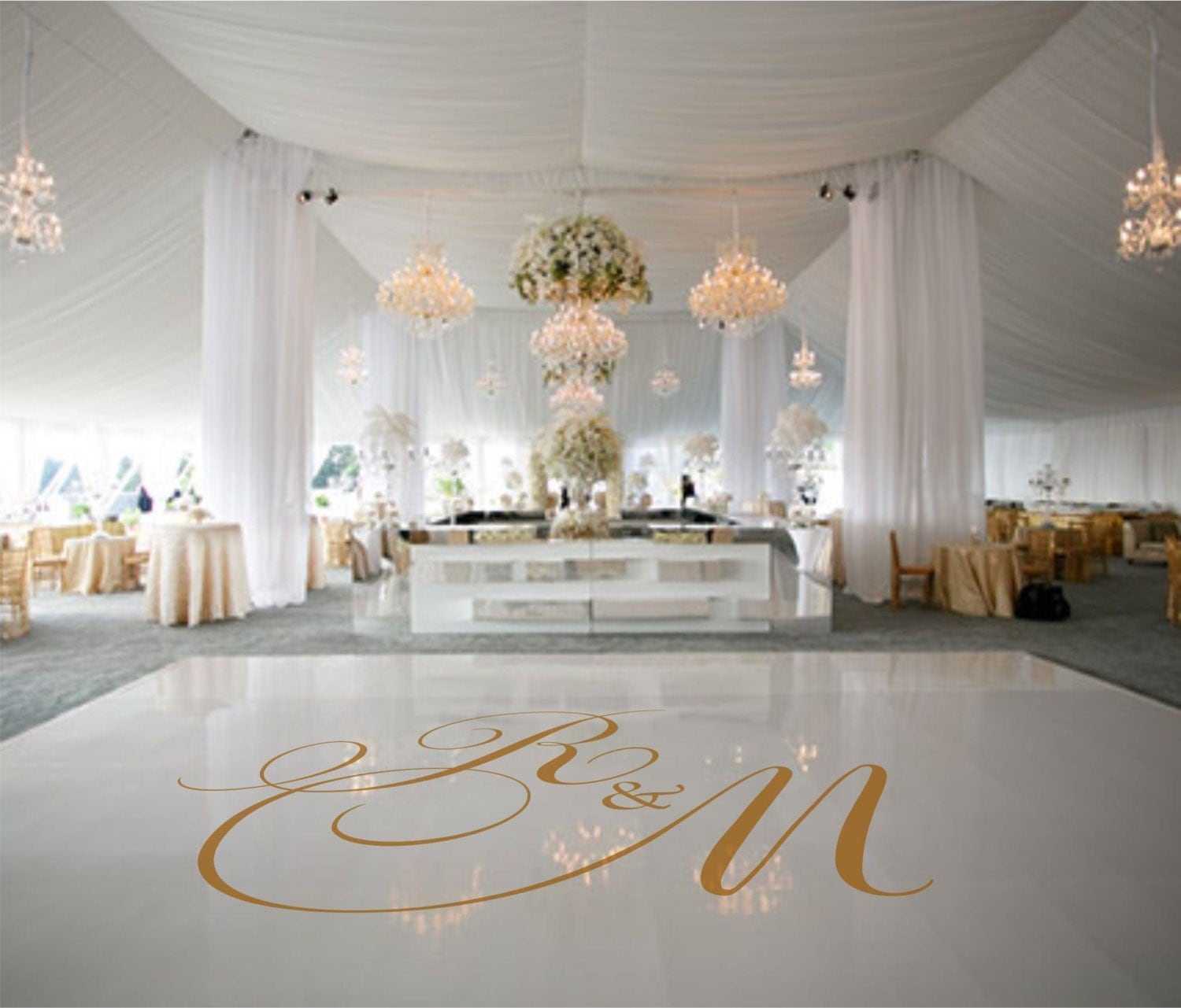 Dance floor decal wedding decor wedding decoration monogram for Decorations for weddings at home