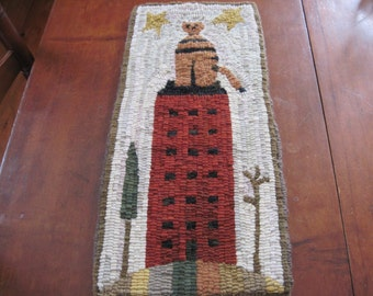 Primitive Hand Hooked Rug-Cupboard Panel-Cat on House