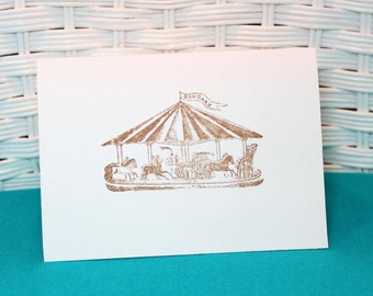 Set of 6 Hand Stamped Carousel Cards