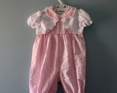 ON SALE Vintage pink and white seersucker romper / baby girl size 6 to 9 months