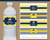 High School Graduation Party Water Bottle Labels - Graduation Water Bottle Labels - Graduation Party Decor - Navy Yellow Grad Drink Wraps G4
