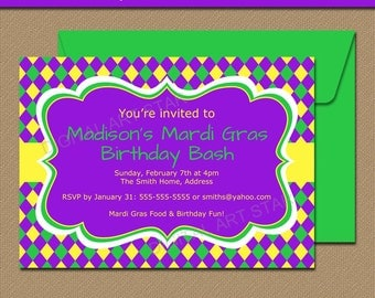 Mardi Gras Birthday Invitation Template - EDITABLE Mardi Gras Party Invitations - Printable Mardi Gras Invites - Birthday Party Invitations
