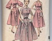 """1950's Simplicity One-Piece Dress in Three styles (Marilyn Monroe Halter, Cap Sleeve and Full Sleeve) Pattern - Bust 32"""" - No. 6126"""