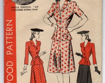 """1940's Hollywood Two Piece Dress with Jacket and Skirt - Bust 32"""" - No. 1025"""