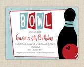 Bowling Birthday Party Invitation. Bowling Birthday Invitation