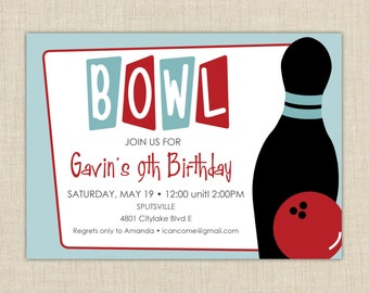 Bowling Birthday Party Invitation. Bowling Birthday Invitation