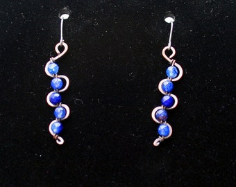 Blue quartz and copper earrings