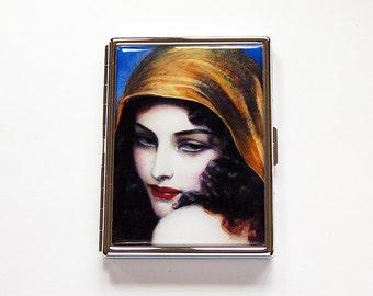 Compact Cigarette Case, Slim Cigarette Case, Cigarette box, Cigarette Holder, Art Deco, Flapper, Art Nouveau, Fine Art Cigarette Case (6070)