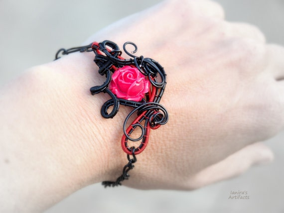 Red rose gothic bracelet ~ Wire wrapped jewelry