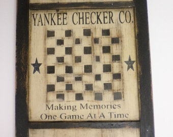 Yankee Checker Company Game Board, Primitive Game Boards, Reproduction Game Boards