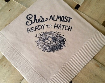 Rustic Light Burlap She's Almost Ready to Hatch Birds Nest Baby Shower Cocktail Napkins - Set of 50