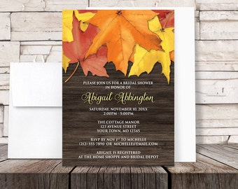 Autumn Bridal Shower Invitations - Rustic Fall Leaves and Brown Wood design - Printed Invitations