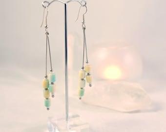 Mermaid Earrings, Long Bead Dangle Earrings