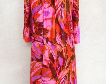 Vintage mod floral dress neon pinks by Carole Chris sz S/M