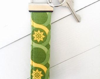 Green Keychain - Green Key Fob - Fabric Key Fob - Joel Dewberry's Meadow Lace in Tarragon