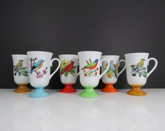 Vintage Bird Mugs Set // Mid Century Retro Colorful Pedestal Base Coffee or Tea Cups Bird Lover Gift Idea Red Orange Aqua Tan Set of Six 6