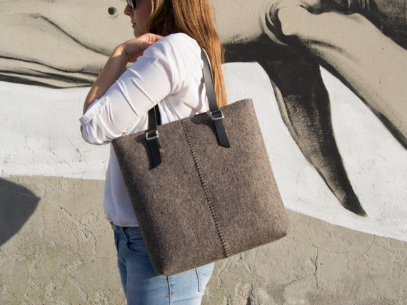 Felt TOTE BAG / leather straps / natural grey / felt women's bag / 100% wool felt / made in Italy
