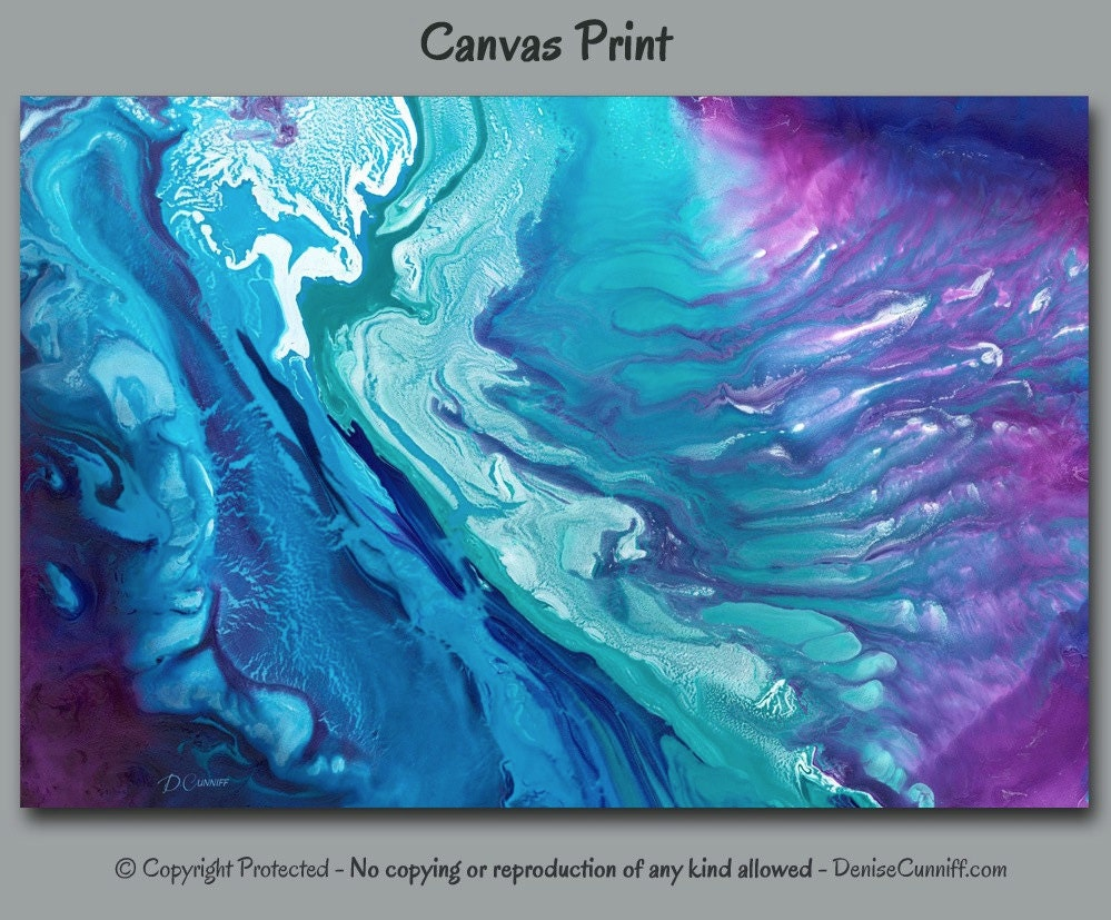 Teal purple abstract painting Canvas print Large wall art