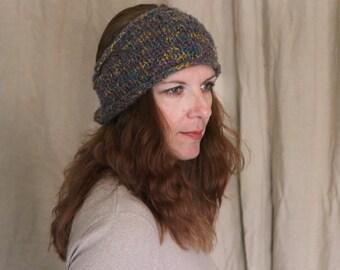 Turban headband, grey headband, multicolor headband, grey turban, grey earwarmer, chunky earwarmer, chunky turban, Phyllis, ready to ship