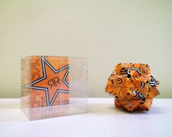 Rockstar Orange Energy Drink Can Origami Ornament.  Upcycled Recycled Repurposed Art