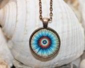 Mandala Flower or Eye Color Healing Reiki Attuned Pendant