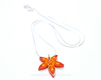 Autumn leaf pendant with fair trade, silver necklace, Eco-friendly, quilled paper, Japanese Maple