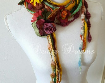 Long Flower Scarf, Autumn Garland, Art Yarn Fringe Scarf, Fall Fashion, Lariat Scarf, Boho Fashion, Eco Friendly Wear, Eclectic Shabby Chic