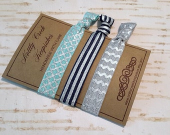 Elastic Hair Ties /Silver Stripe Tie/Turquoise Moroccan Tie/ Grey Chevron No-Crease Hair Tie/3 Set Hair Tie/FOE Hair Ties/Ponytail Holder