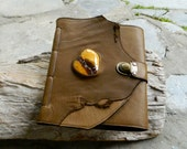 Leather Journal Chunky Mookaite Jasper Olive Brown Leather Diary Blank Page Notebook Recycled Leather Journal