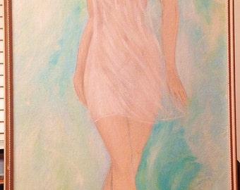 LARGE Mid Century Painting signed 'Jamie' Semi-Nude 60s Lady
