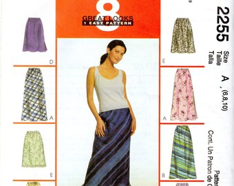Easy Pull-on, Bias Women's Skirt in Two Lengths Pattern - Size 6, 8, 10 - McCall's 2255 uncut
