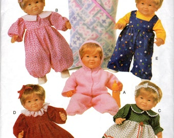 "Baby Doll Clothes Pattern- for 14"" to 15"" doll and 17"" to 18"" dolls - Butterick 5729 uncut"