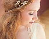 Golden Flower Double 'Isla' Hair Vine – style 017 - Bunchberry Dogwood Inspired Headpiece