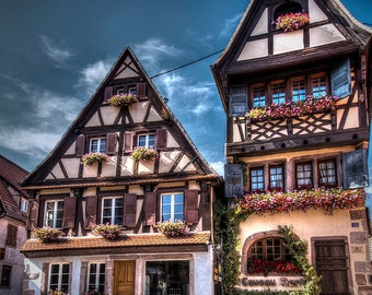 Fairytale Alsace village, famous Bergenheim, small medieval village, art photo print small, very large, HDR dreamy fantastic print, France
