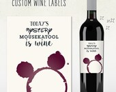custom wine label - today's mystery mousekatool is wine - mommy gift, mommies day out, girls night