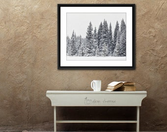 Nature Wall Art, Rustic Home Decor, Tree Photography, Winter Snow, Enchanted Forest, Landscape Photo, Wilderness | 'Sentinals'