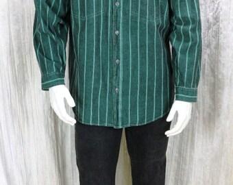 Vintage 80s shirts Mens Button down striped shirt Cotton long sleeve shirt Hipster hippie clothing Men's green denim shirt Casual stripes