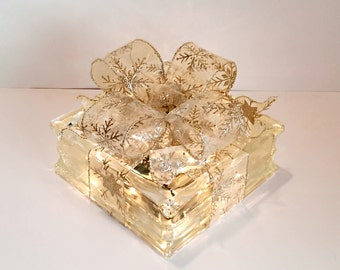 Light Up Glass Block / Present For Decoration With a Sheer Gold Snowflake Bow