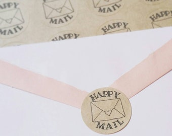 Happy Mail stickers - 1 inch circles - happy mail envelope seals - mailing labels