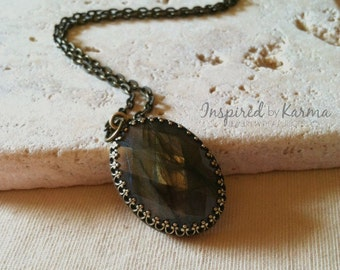 Labradorite Pendant Necklace, Brass Necklace, Oval Stone in Antiqued Bezel, Gifts for her, Gemstone Jewelry, Labradorite Jewelry,