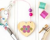 CLEARANCE: DIY Kit, Heart Zipper Pull, Embroidery Scissor Fob, Modern Cross Stitch Kit, Embroidered Zipper Charm, Key Chain Charm, Key Ring