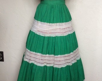 Green with Envy Vintage 1950's Mexican Fiesta Patio Dress Outfit