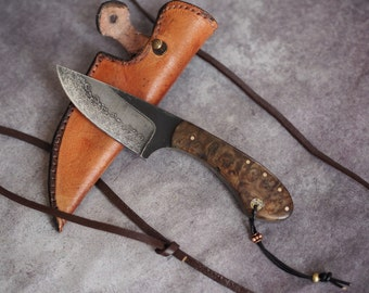 Custom EDC neck- knife, small fixed blade knife, alder burl knife, small fixed edc