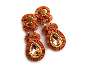 Valentines Day gift for wife - gift for girlfriend - Soutache earrings - Statement earrings - Unique earrings - Brown crystal earrings