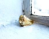 RESERVED- Vintage Horseshoe 8K Gold Ring with Diamante Real Rough Cut Diamonds in US Ring Size 6 3/4 from the Philippines